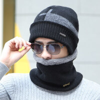 韩版时尚潮毛线帽男士帽子针织帽加厚保暖青年护耳帽子男