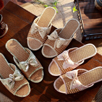 女士亚麻拖鞋夏季防滑居家厚底家居地板凉拖鞋室内可爱家用