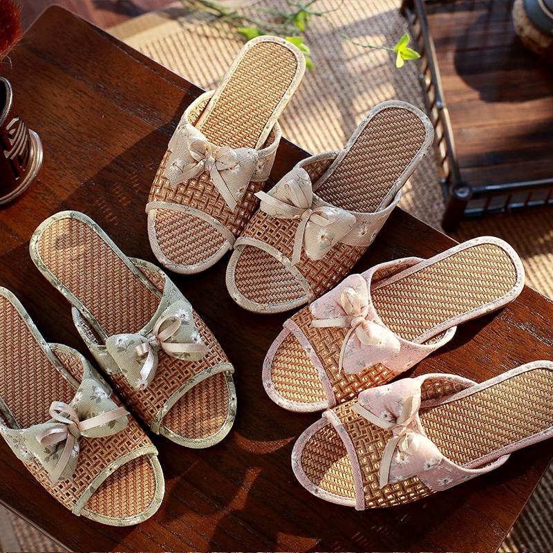 女士亚麻拖鞋夏季防滑居家厚底家居地板凉拖鞋室内可爱家用 品质保证 售后无忧 支持货到付款