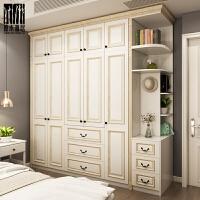 美式实木衣柜推拉衣橱整体开门移门卧室衣柜定制四五六门 2门 组装