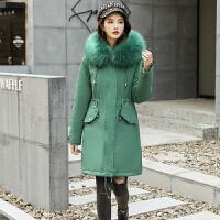 棉衣 女士长袖加绒派克服2020冬季新款韩版女式宽松毛领棉服学生大码连帽女装外套