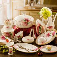 手工描金骨瓷餐具套装碗家用北欧景德镇陶瓷餐具碗盘子碗碟汤碗煲