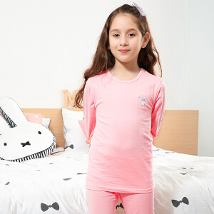 彩桥女童秋衣秋裤纯棉家居服打底内衣少女学生内衣儿童内衣套装