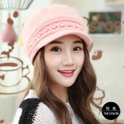 帽子女韩版兔毛帽 纯色鸭舌贝雷帽保暖针织毛线帽时尚