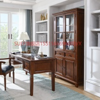 白蜡木实木书柜两门简约美式乡村家具书橱书架自由组合落地书柜子 0.8-1米宽