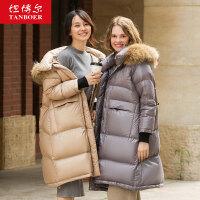 坦博尔真毛领羽绒服女2019时尚爆款反季特卖韩版面包服女冬装外套
