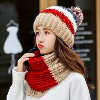 毛线帽子女秋冬潮韩国时尚可爱针织甜美加厚冬季学生韩版百搭新款围巾
