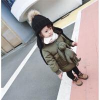 冬季婴幼儿童宝宝大毛球毛线帽针织毛护耳帽翻边帽百搭款