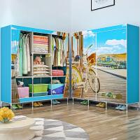 索尔诺简易衣柜 双人布衣柜钢管加粗加固单人衣橱布艺组装收纳柜1385CH