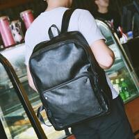 休闲双肩包男士背包韩版学生书包皮时尚个性潮流运动旅行电脑男包zl 黑色