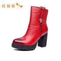 红蜻蜓圆头粗高跟撞色侧拉链女靴子