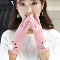 甜美可爱韩版学生卡通骑行手套触屏手套女加绒加厚保暖