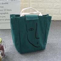 便当袋手提包可爱清新韩版保温帆布饭盒袋学生午餐盒包手拎妈咪包 绿色 简笔画