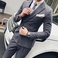 西服套装男士两件套修身双排扣西装新郎结婚礼服秋英伦韩版主持人