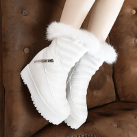 冬季厚底防水雪地靴内增高兔毛女短靴松糕跟金属拉链保暖女鞋
