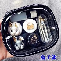 隐形眼镜盒美瞳盒兔首眼镜盒伴侣盒双联盒隐形收纳盒套装d