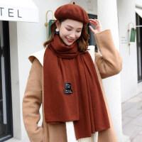 韩版百搭仿羊绒围巾女 新款加厚围脖学生长款女士加厚保暖毛线两用围巾女