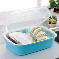 韩式带盖密封双层沥水碗碟架大号碗柜厨房碗碟沥水置物架1061颜色随机