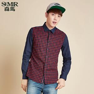GSON长袖衬衫 秋装新款 男士方领格纹拼接休闲长袖衬衣韩版潮