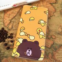 韩版可爱卡通小清新长款钱包 个性潮流手拿包学生软妹钱夹手机包 薯片熊 长