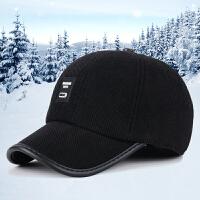 秋冬季新款男士休闲运动棒球帽中老年户外保暖护耳鸭舌帽子