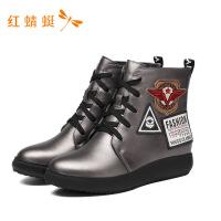 红蜻蜓女鞋冬季新款潮流系带韩版舒适休闲时装靴女短靴