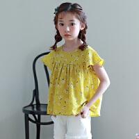 女童上衣夏季2018新款儿童碎花短袖韩版时尚公主t恤中大童娃娃衫