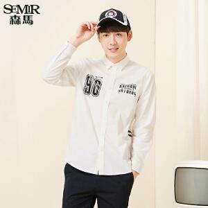 森马长袖衬衫 2017春季新款 男士方领字母印花街头学生衬衣韩版潮