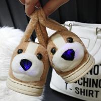 防滑棉鞋1-2岁7卡通8可爱棉拖鞋5毛绒6包跟冬天宝宝毛拖鞋3-4