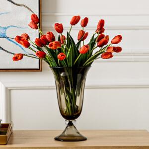 奇居良品 塞纳茶色玻璃花瓶配橘色郁金香10支