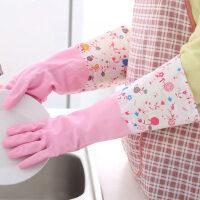 厚款厨房洗碗洗衣乳胶手套加绒橡胶手套长薄款家务防水手套