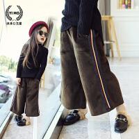 女童裤子冬款加绒长裤 新款韩版绒布条纹舒适休闲裤儿童阔腿裤