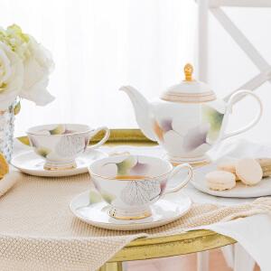 奇居良品 下午茶陶瓷茶具咖啡杯碟套装 玛森杏叶骨瓷茶壶咖啡杯碟
