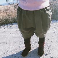史豌豆女童裤子加绒加厚外穿秋冬季假两件女宝宝保暖裤儿童棉裤