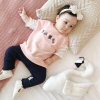 6个月新生婴儿T恤8春秋季纯棉长袖上衣1-3岁男女宝宝薄卫衣2周岁4