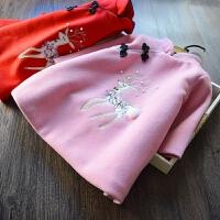 自留~女童小鹿毛呢旗袍裙 2017冬装新款儿童唐装加棉加厚连衣裙