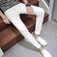 秋季纯色牛仔裤男士韩版修身长裤休闲白色裤力百搭潮流小脚裤