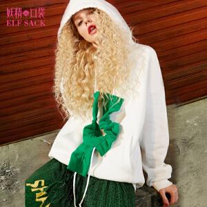 【6折价108元】妖精的口袋未来艺术秋冬装新款宽松木耳边连帽加绒卫衣女