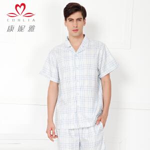 康妮雅夏季新款睡衣 男士棉质格子短袖短裤家居服套装薄款
