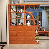 实木酒柜隔断柜进门玄关门厅柜现代简约间厅柜客厅屏风双面柜中式 组装 框架结构