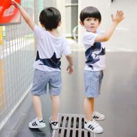 男童夏装新款套装1儿童2夏季3童装4小童5-6岁宝宝短袖两件套 白色718