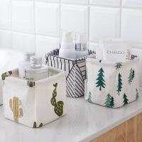 创意家居 居家棉麻桌面收纳盒 可折叠布艺便携收纳盒 多用防水收纳箱