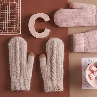 女士加绒加厚防寒触屏毛线手套女 保暖针织羊毛手套