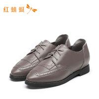 红蜻蜓女鞋低粗跟百搭时尚通勤鞋英伦真皮单鞋休闲小皮鞋