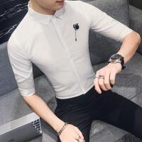 夏季修身男士短袖白衬衣商务衬衫潮英伦韩版发型师显瘦七分袖衬衫