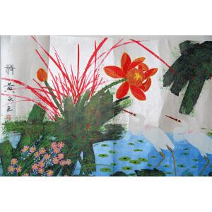 F黄永玉 荷 纸本镜片 68*136