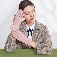 户外手套女士触屏加绒保暖麂皮绒可爱手套骑行开车加厚防风