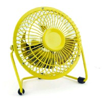 usb迷你风扇静音4寸小风扇 USB桌面散热风扇电风扇 黄色风扇