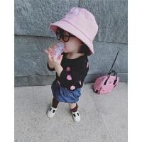 允儿妈韩版18夏纯棉女童盆帽渔夫帽圆顶礼帽婴幼儿童沙滩帽绣字母