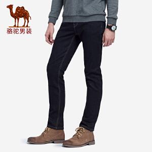 骆驼男装 2018秋季新款男士青年黑色水洗长裤中腰直筒休闲牛仔裤